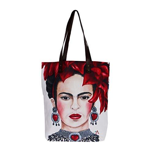 (Akitai Frida Kahlo Passionate Red Heart - Shoulder - Travel Tote – Boho - Handbag - Womens Frida Fans Purse Collection Costume Bag)