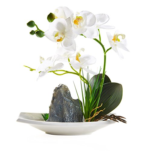 Artificial Phaleanopsis Arrangement with Vase Decorative Orchid Flower Bonsai Rockery Series (White)