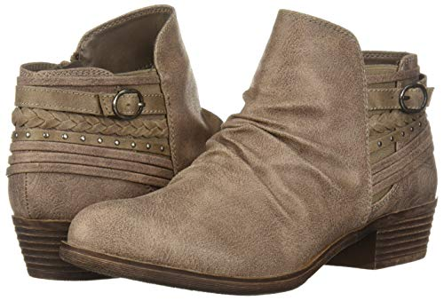 Bootie Boot Suede Trendy Women's Tali Casual Low Scrunch Sugar Heel Fab With Strap Stone Details Ankle Back qR8OFW