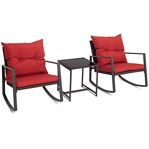 FDInspiration 3Pcs Patio Wicker Rattan Bistro Rocking Chair Set Coffee Table Outdoor Furniture w/Red Wine Cushion with Ebook