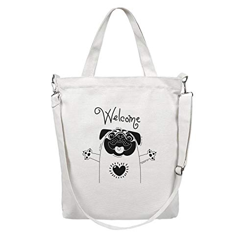 12.5X15 Inches Cute Zip Stylish Canvas Large Tote Bag For Women happy pug fest black heart Reusable Beach Work Gym Book Lunch School Shopping Shoulder Handbag