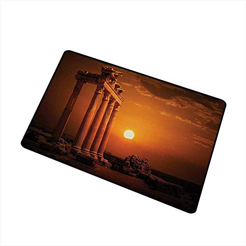 Moses Whitehead Fabric Door Mat Rug Ancient,Antique Ancient Style Rome Empire Monuments Columns Statues with Sun Picture,Orange and White,for Daily Use-Stylish Floor Mat 31