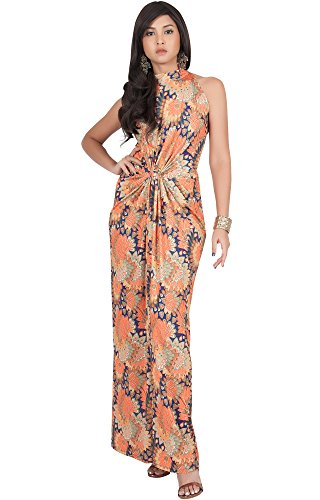 Silk Halter Dress Neck (KOH KOH Plus Size Womens Long Sleeveless Sexy Summer Boho Bohemian Sundress Sun Sundresses Print Printed Halter Neck Casual Gown Gowns Maxi Dress Dresses, Orange and Navy Blue XL 14-16)