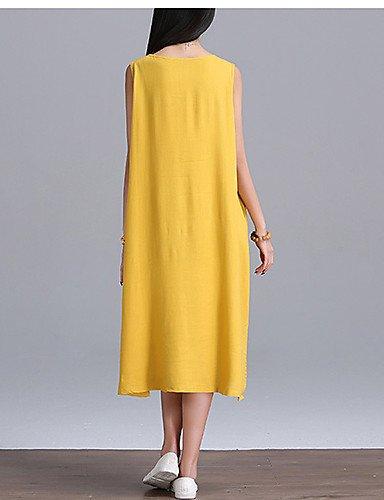 PU&PU Robe Aux femmes Trapèze Street Chic,Couleur Pleine Col Arrondi Midi Coton , yellow-m , yellow-m