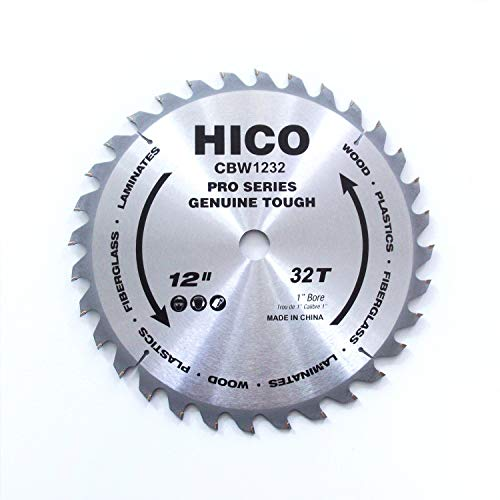 HICO 12-Inch 32-Tooth ATB Miter Saw Blade Thin Kerf General Purpose Saw Blade with 1-Inch Arbor for Softwood Hardwood Plywood