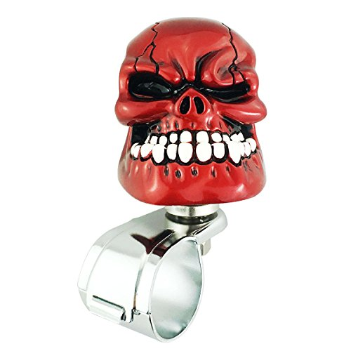 (Abfer Knobs for Steering Wheel Aid Power Handle Assister Steering Wheel Spinner Knob Red Skull Spinner for Car Vehicles)