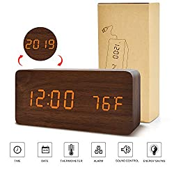 BlaCOG Digital Alarm Clock, Adjustable Brightness Voice Control Wooden Alarm Clocks for Bedrooms, Display Time Temperature Date and USB Battery Powered, Brown Clock