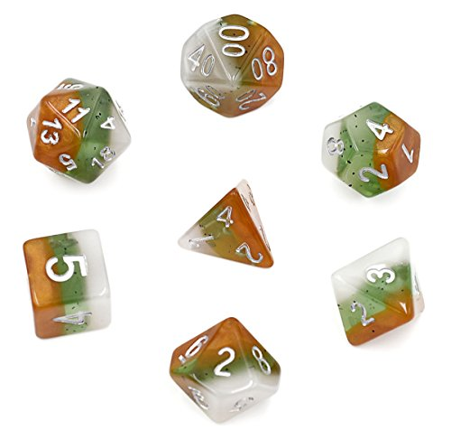 (Polyhedral Dice Sets DND Dice for Dungeons & Dragons Pathfinder Table Gaming Dice Collections with Bags (Kiwi Dice))