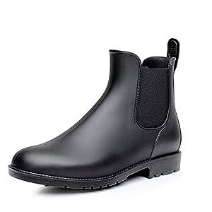 Bottes Pluie Chelsea Femme Homme Caoutchouc Jardin Bottines Wellington Boots Imperméables Noir Brun 34-43