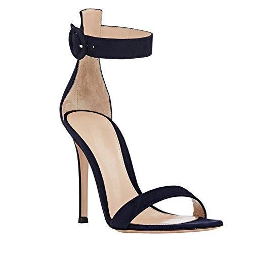 Ouvert EDEFS de 10CM Chaussures Cheville à Sandales Talon Femme Bout Bride Aiguille Navy gnpBfqgwxr