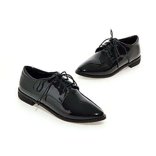 en femmes verni lacets aiguilles cuir lacets et à Noir Chaussures avec talons pour BalaMasa R6wg0qtnx