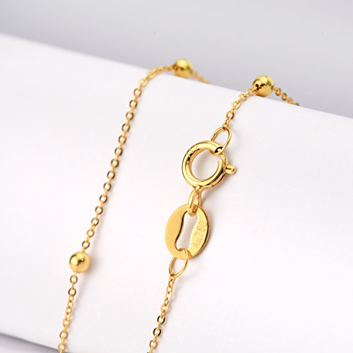 SISGEM 18K Gold Bracelet for Women, Bead Ball Dainty Chain Bracelets Fine Jewelry (Yellow Gold) by SISGEM (Image #3)