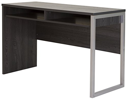 Metal Finish Table - Interface Desk - Sleek Metal Finish - Open Storage for Laptop and Tablet - Gray Oak - by South Shore