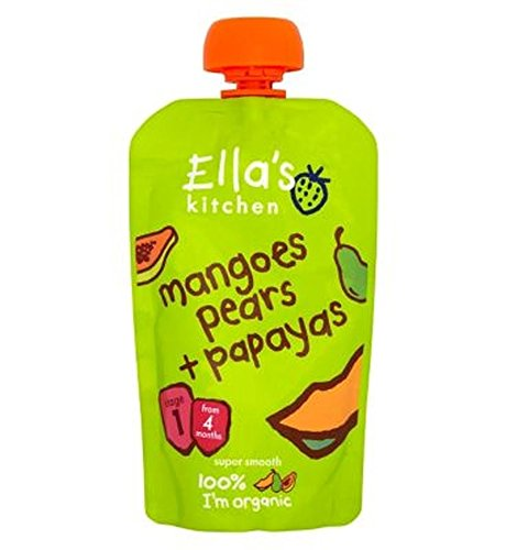 Ella'S Kitchen Mangoes, Pears + Papayas From 4 Months 120G - Pack of 2 by Ella's Kitchen
