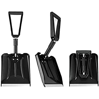 Silver Blade Winter Emergency Roadside Automobile Accessory Smaller Portable Design Sunnydaze Decor Mini Compact 10 x 8-Inch Folding Car Snow Shovel with Carrying Bag