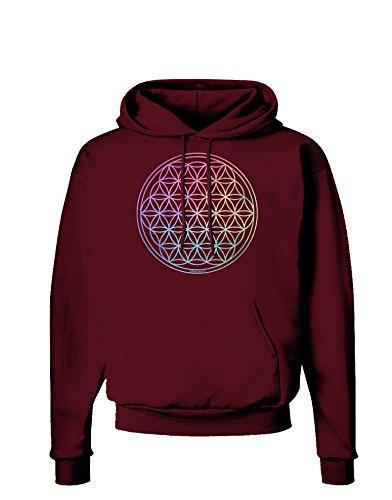 TOOLOUD Flower of Life Circle Dark Hoodie Sweatshirt - Maroon - Large