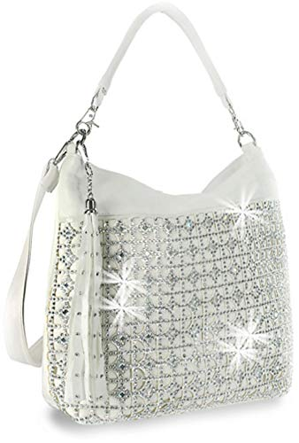 Zzfab Coin Circle Sparkle Hobo Bag with Tassel (White)