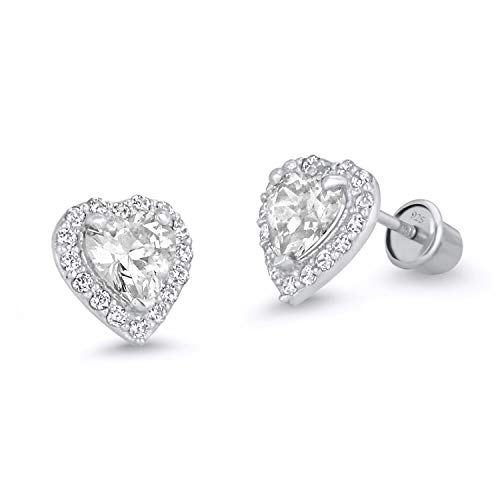 925 Sterling Silver Rhodium Plated White Heart Cubic Zirconia Screwback Baby Girls Earrings