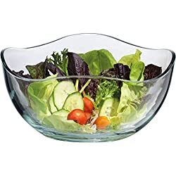 Large Glass Wavy Salad Bowl