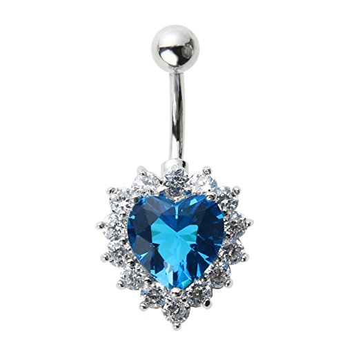 Jocestyle Woman Chic Heart Shape Zircon Belly Ring Diamond Hot Navel ()
