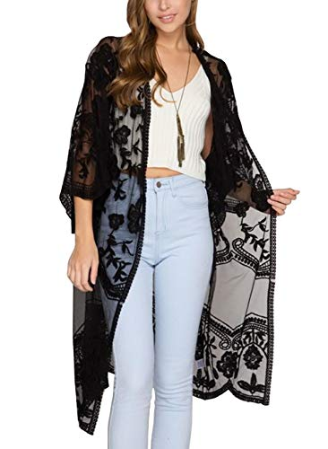 FaroDor Women's Flowy Bathing Suit Kimono Cardigan Lace Crochet Swimwear Floral Cover Ups
