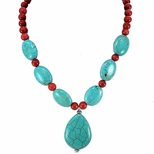 001 Ny6design Bamboo Coral & Magnesite Turquoise Beads Necklace w Silver Plat.