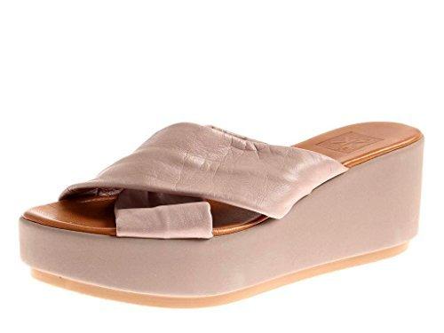 Cuero Zapato Plataforma con de KimKay gris Sandalias cuero 4549 abierto Zapatillas Solapa nqfXnwxE