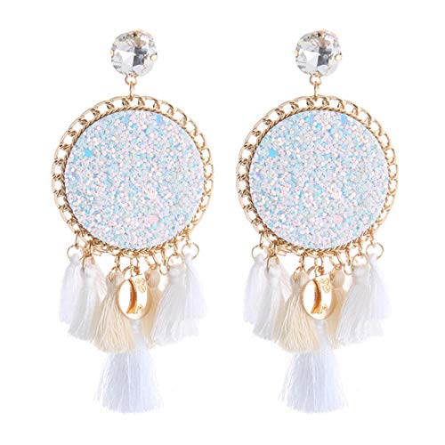 Bohemian Tassel Earrings Metal Flash Leather Earring Fashion Lightweight Drop Dangle Earring ()