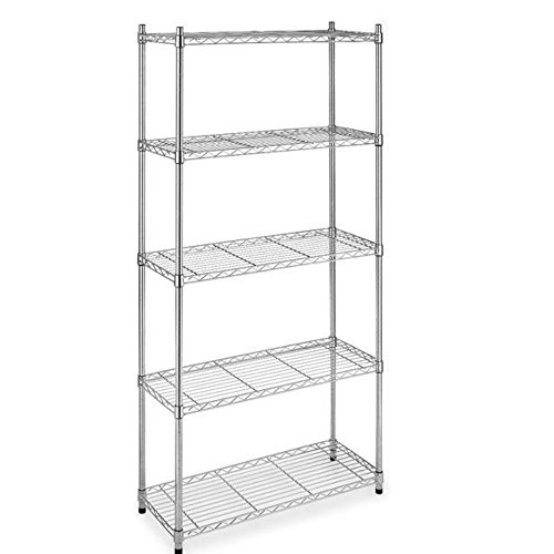 5-Tier Chrome Shelf Closet Book Display Metal Frame Narrow Shelving Storage Organizer Silver US #424c (Fireplace Plans Wood Box)