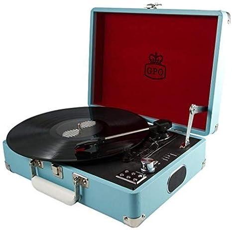 GPO ATTACHE Plattenspieler im Aktenkoffer-Stil mit Vinyl Plattenspieler und eingebauten Lautsprechern Himmelblau