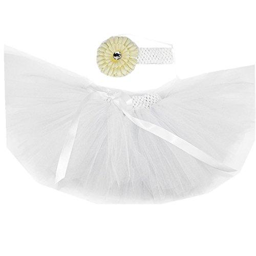 MizHome Newborn Baby Girls Birthday Layered Tulle Tutu Skirt Flower Headwear Outfits