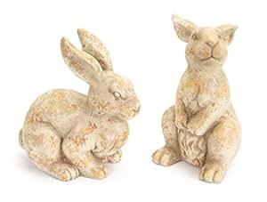 """Pack de 2, color beige terracota conejo jardín Estatua 2piezas conjuntos 11.5"""""""