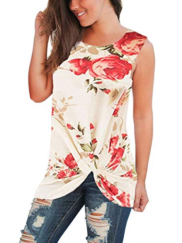 Womans Tank Tops Casual Flower Sleeveless Shirts Fashion Blouses Floral White L