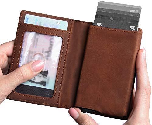 Leather RFID Minimalist Wallet - Wallets for Men with Slim Pop-up Card Holder