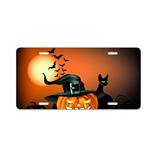 YEX Abstract Happy Halloween poster6 License Plate Frame Car Licence Plate Covers Auto Tag Holder 6