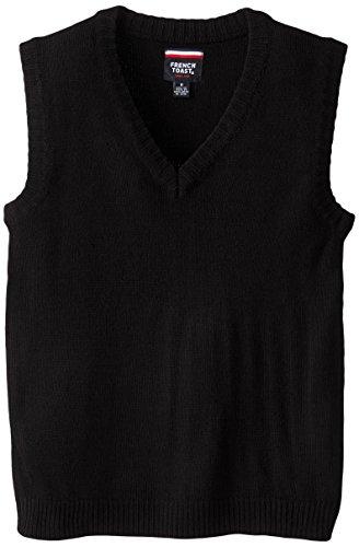 French Toast Big Boys' V-Neck Vest, Black, (Black Sweater Vest For Boys)
