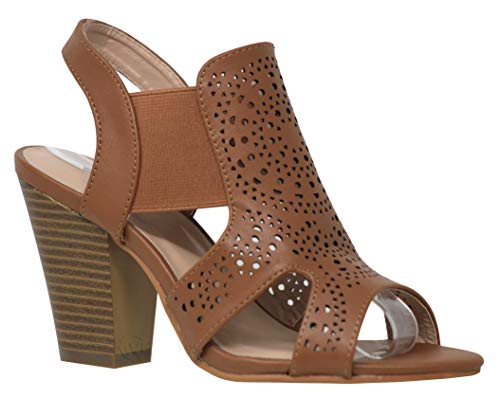 MVE Shoes Womens Stylish Comfortable Open Toe Cut Out Heeled Sandal, Tan -