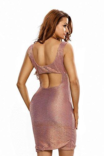 Nuevas señoras metálico dorado parte trasera abierta Bodycon Mini vestido Club Wear tarde vestido de fiesta tamaño M UK 10–�?2EU 38–�?0