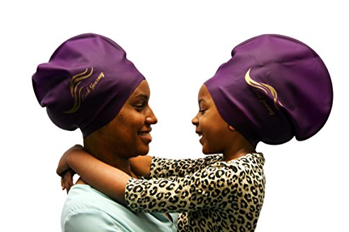 XL PURPLE - Silicone Swim or Shower Cap For Dreadlocks, Braids and Longer Hair Styles