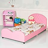 Costzon Kids Bed, Upholstered Platform, Wood