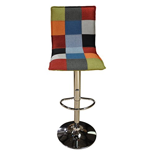 Onitiva Blancho Bedding Colorful Square Set of 2 Barstools Square Seat Bar Chair Adjustable Swivel Fabric Seat from Onitiva