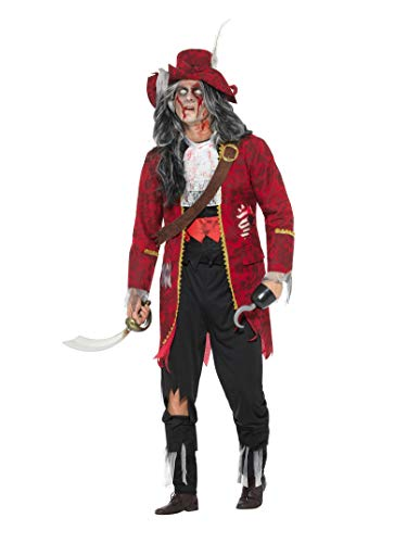 Smiffy's Men's Deluxe Zombie Pirate Captain Costume, Latex, Red, Large -