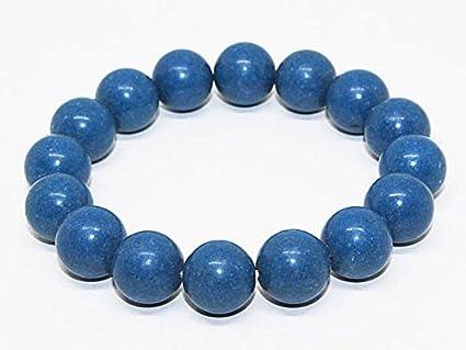 Pulsera de coral azul teñida a mano de 12 mm con cuentas de coral azul, pulsera de piedras preciosas unisex