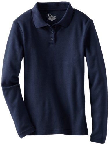 CLASSROOM Big Girls' Long Sleeve Fitted Interlock Polo, Dark Navy, X-Large by Classroom Uniforms (Image #1)