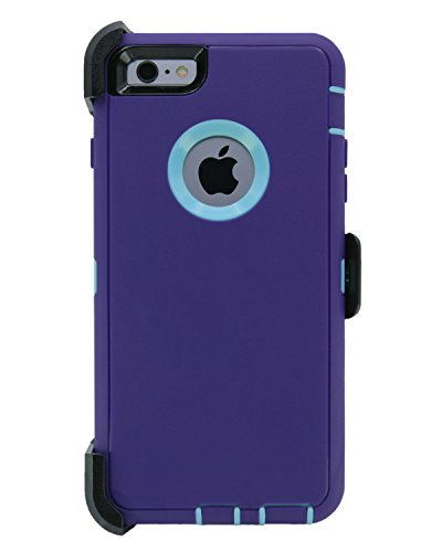 WallSkiN Turtle Series Cases for iPhone 6 / iPhone 6S (Only) Full Body Protection with Kickstand & Holster - Ambition (Purple/Beau Blue)