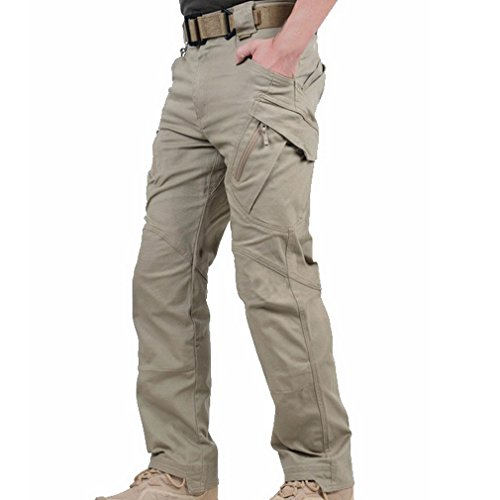 MAGCOMSEN Mens Cargo Work Trousers Cotton Pants Outdoor Camping Hiking Loose Fit 30-38