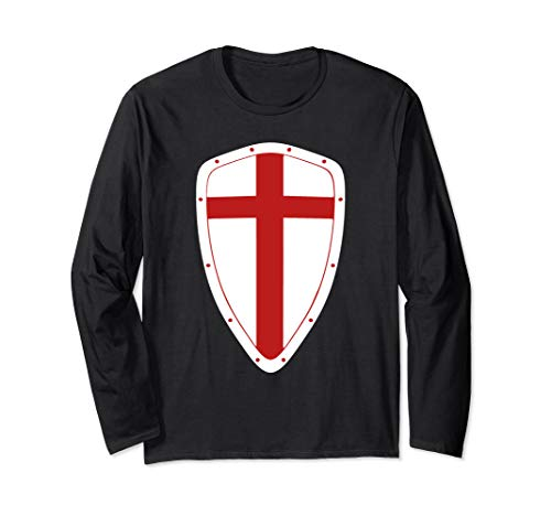 Knight Templar Shield Halloween Costume Christian Crusader Long Sleeve T-Shirt ()