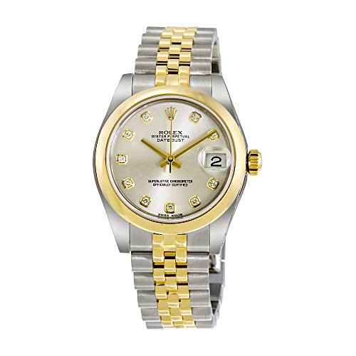 Rolex Datejust Silver Dial Stainless Steel and 18kt Yellow Gold Ladies Watch 178243SDJ