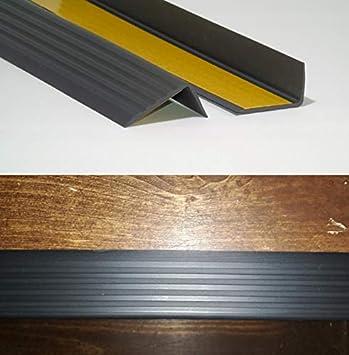 PVC Treppenkantenprofil Winkelprofil Treppenkante 41x25mm 1,10m Selbstklebend Grau