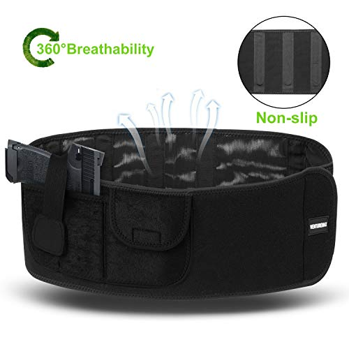 Gun Holster Concealed Carry Belly Band For Men and Women, Comfortable Breathable, Adjustable Waistband Holsters For Pistols Revolver, Glock 19 17 23 43 42, Bodyguard 380, Smith & Wesson, M&P Shield